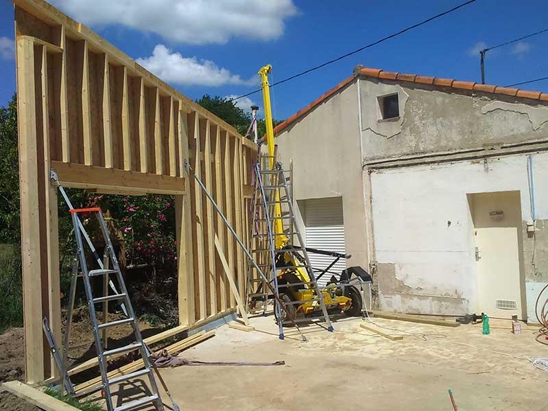 extension de maison ossature bois intérieur