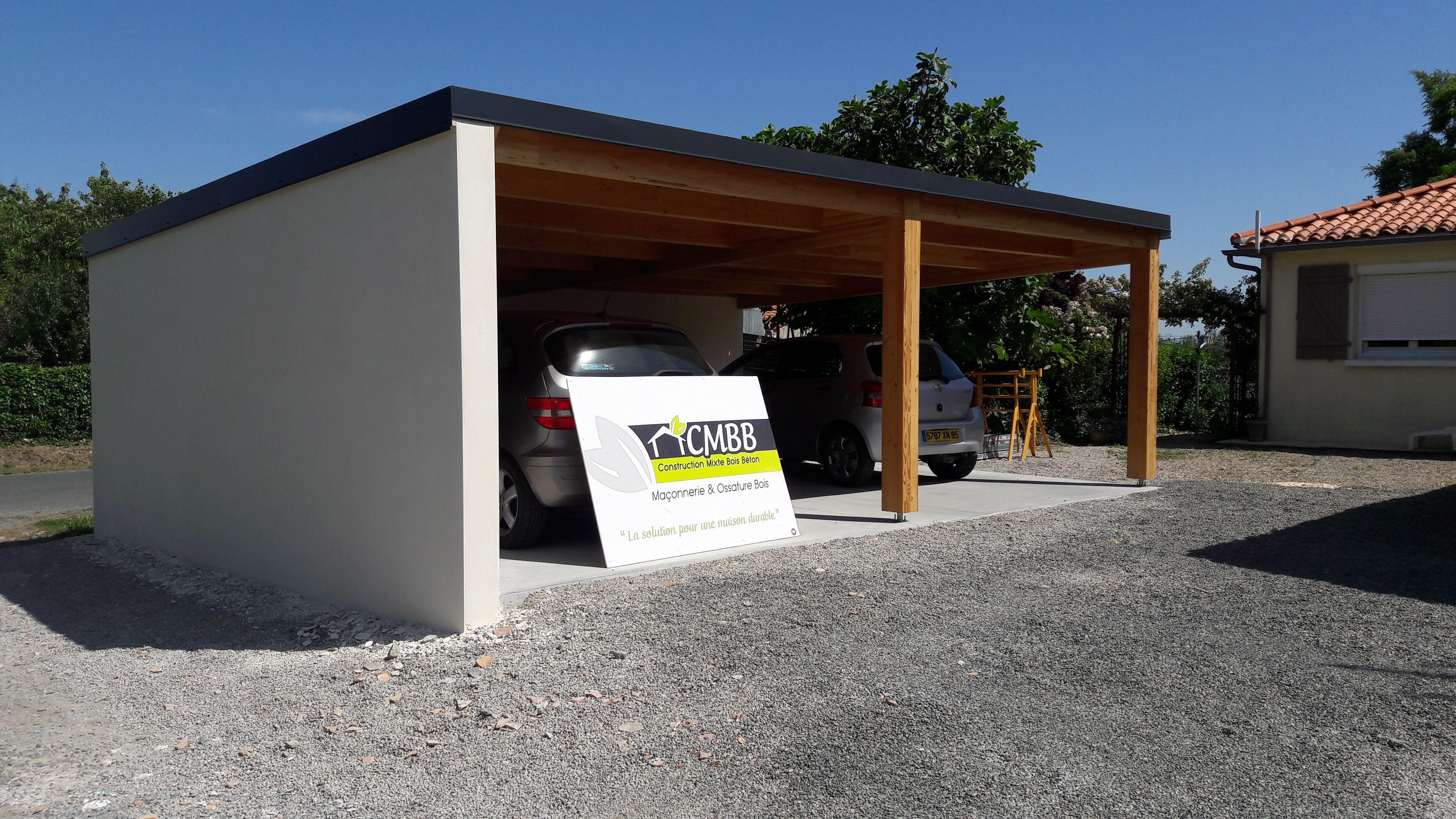 garage - carport bois et maconnerie CMBB